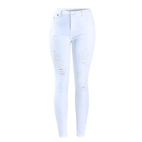 Distressed Curvy White Denim