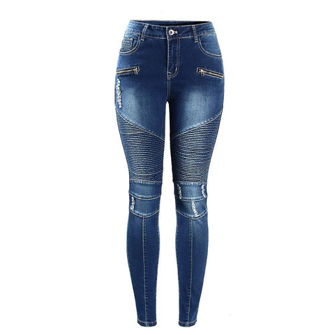 Biker's Zip Mid High Waist Stretch Denim