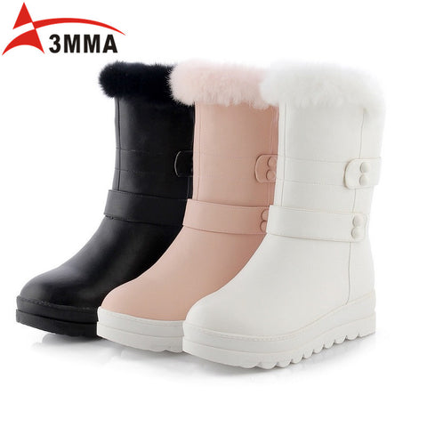 Buckle Strap Rabbit Fur Shaft Snow Boots Warm Fur Lined Mid Calf Boots