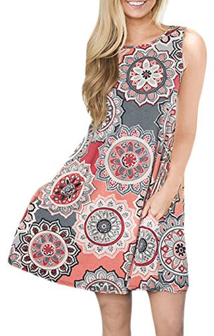 Sleeveless Print Tank Dress with Pocket