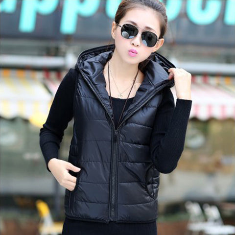 Hooded Pattern Casual Cotton Vest Jacket