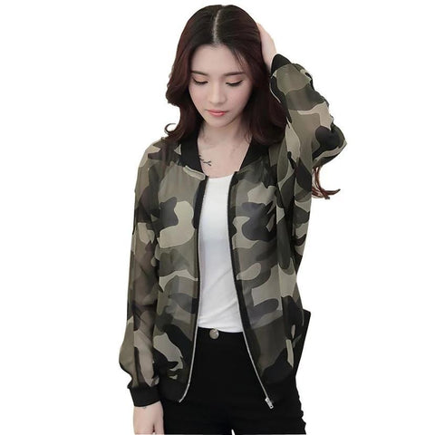 Basic Coat Transparent Long Sleeve Zipper Camouflage Bomber Jacket