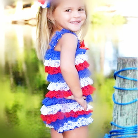 Buy Baby Girl Ruffle Rompers Red White Blue Outfit 4th Of July At