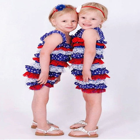 Baby Girl Ruffle Rompers Red/White & Blue Outfit 4th Of July