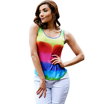 Sleeveless Backless Hollow Out Rainbow Tank Top