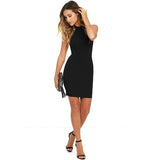Elegant Mini Halter Neck Sleeveless Alluring Back Black Lace Bodycon Dress