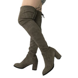 Drawstring Suede Block Thick Heel Stretch Over the Knee Boots