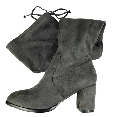 1f27b5c76 Buy Drawstring Suede Block Thick Heel Stretch Over the Knee Boots at ...