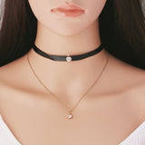 Black suede choker necklace Leather gothic