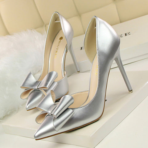 Casual Shoes Ladies Sweet Bow High-heeled Shoes