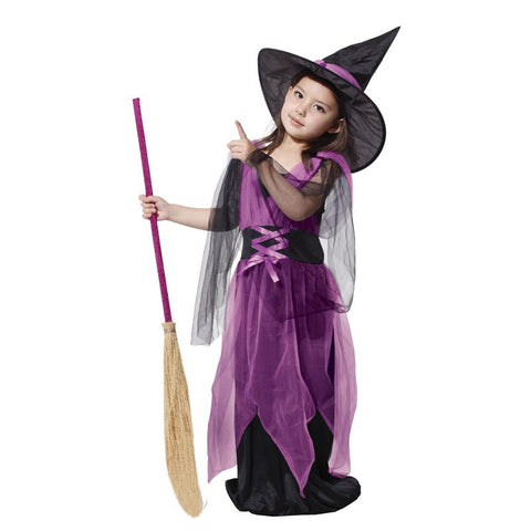 Black Fly Witch Purple Dress and Hat Halloween Clothing for Kids
