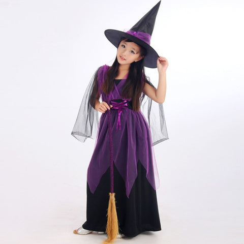 Buy Black Fly Witch Purple Dress and Hat Halloween Clothing for ...