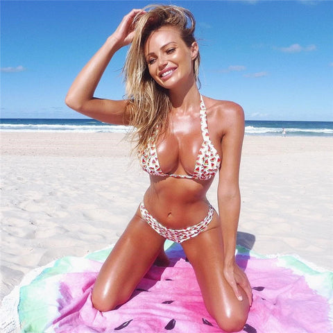 Cool Summer Fruit Print Sexy Bikini Swim Set