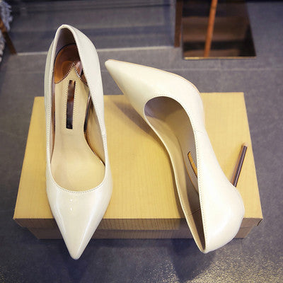 Craylorvans Pearl Color Metal Thin Heels Pointed Toe