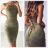 Backless Short Sleeveless Sheath BodyCon Suede Dress