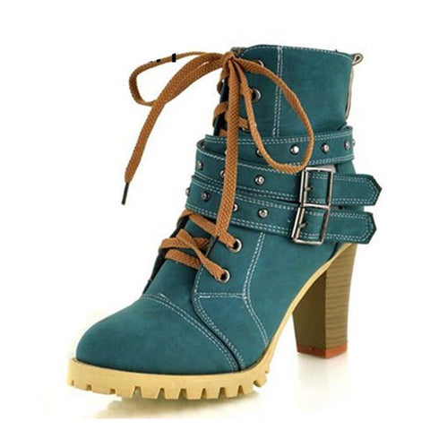 Lace Up Waterproof Platform Ankle Boots