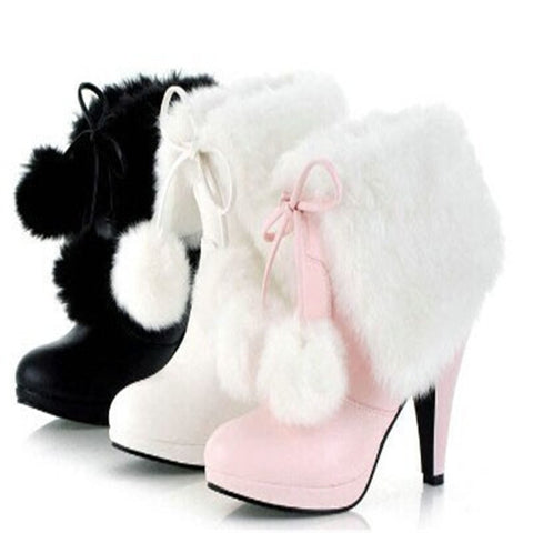 New Ankle Boots Plush Balls Thin Heel