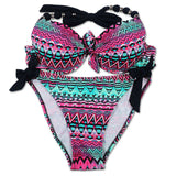 Floral Brazilian Push Up Halter Bikini Set