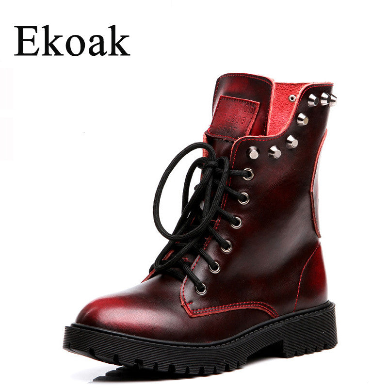 e61113dae44 Genuine leather boots Cowhide ankle boots Martin Boots lace up rivets