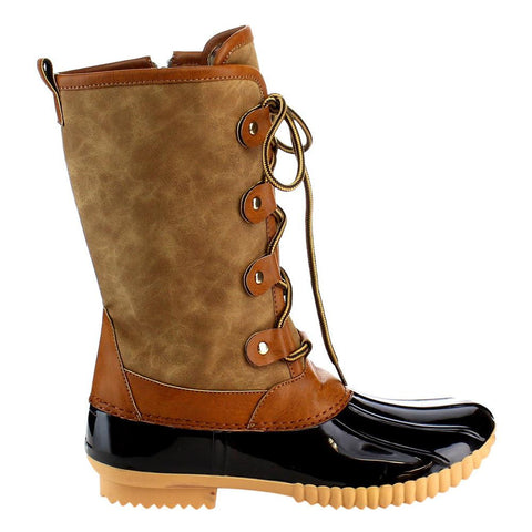 0ea708e136a73 Buy FF79 Women's Shoes Mid Calf Lace Up Inside Zip Duck Boots at ...