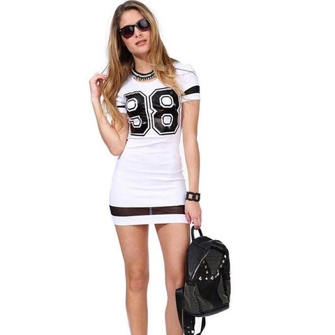 Fashion Casual Women Dresses Number 98 Print Short Sleeve O Neck Mini Cotton Dress Hot Selling Slim Fitness Robe Sexy