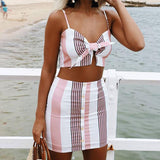 Bow Stripe Halter V Neck