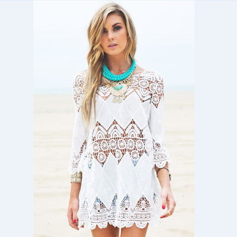 New Flower Embroidery Boho Lace Shirt Hollow Out Cover Ups