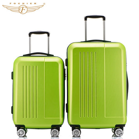 "Fochier New 20 24inches 4 colors ABS luggage 2 Pieces set Hardside Travel Luggage Suitcase Rolling Spinner 4 Wheels 20""+24"""