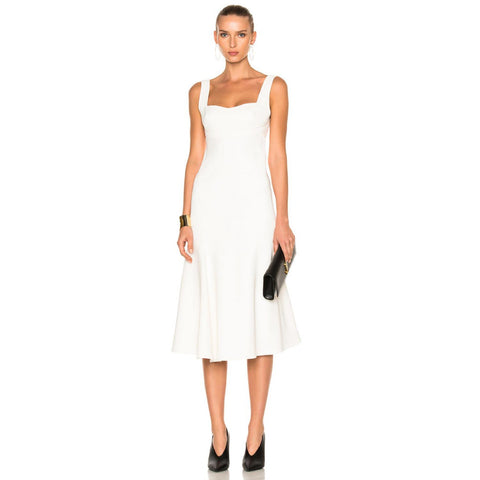 Casual Women Long Maxi White A-Line backless Dress Vest