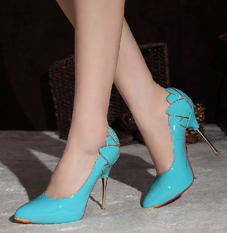 Genuine Leather Floral Back Design High Heel