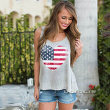 4th July Sleeveless Tops Fashion Heart American Flag Print