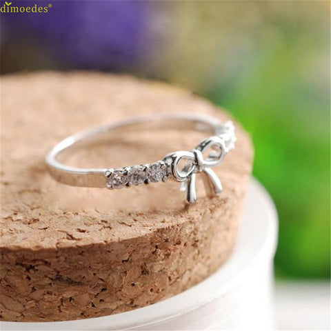 HOT Brand Korean Jewelry Simple Crystal Bow Ring