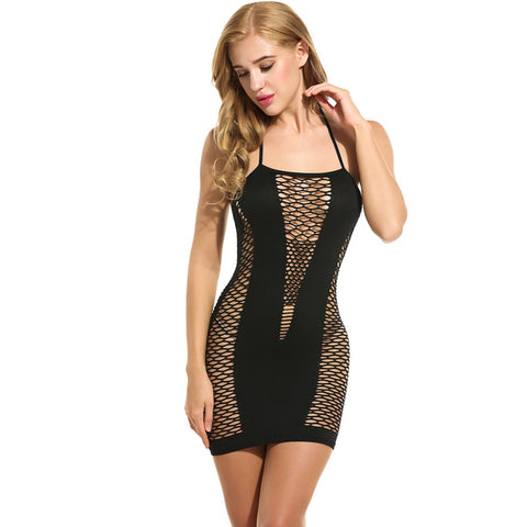 Hollow Out Halter Slim Dress Sexy Lingerie