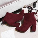 High Heel Fur Suede Ankle Boots