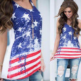 Women's Sleeveless Stars Stripes Shirt 4th July