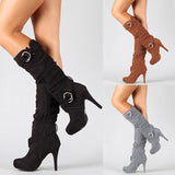 Sexy Knee High Women Boots Thin High Heel Round Toe