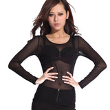 Hot New 2017 Spring Summer Womens Long Sleeve Sexy Black Mesh