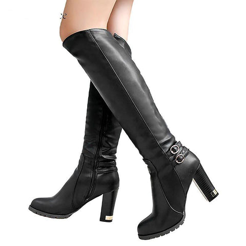 Chunky High Heel  Buckled Knee Boots With Side Zipper