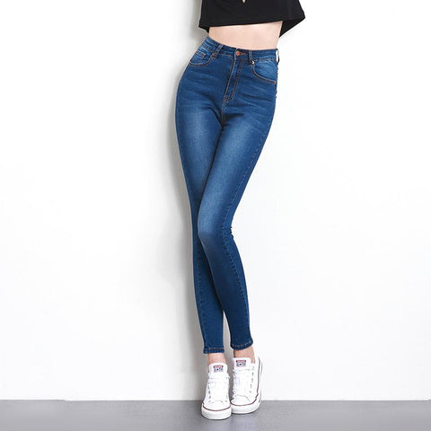 High Waist Washed Denim Skinny