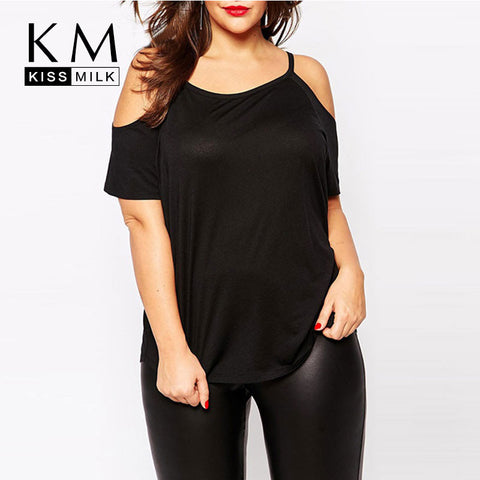 Kissmilk Plus Size Solid Open Cold Shoulder T-shirt