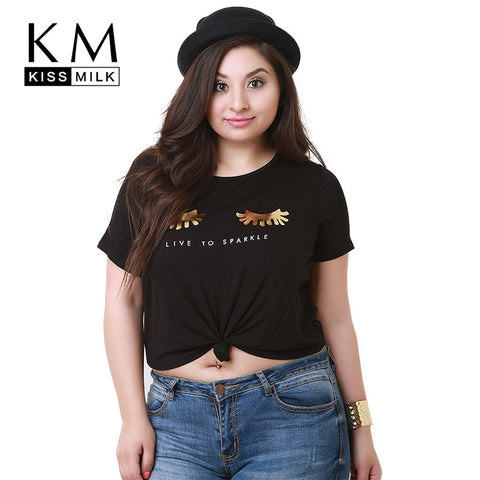 Kissmilk Short Sleeve Letter Print Soft T-Shirt