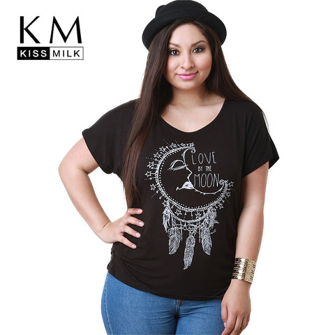 Kissmilk Plus Size O Neck Short Sleeve Letter Print Women T Shirt