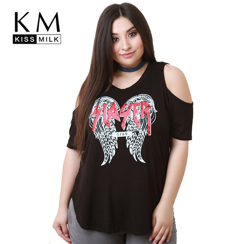 Kissmilk Plus Size Short Sleeve Cold Shoulder T Shirt