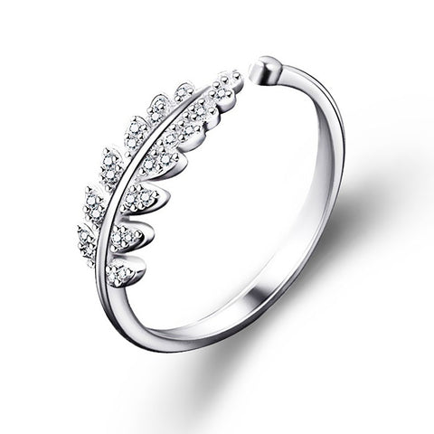 Simple Open Design Leaf Ring