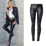 Faux Leather Pants With Elastic Zipper