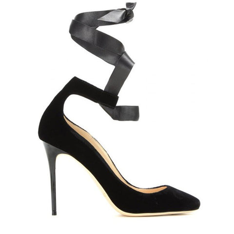 Pointed Toe Flock Velvet Women Ankle Wrap High Heels