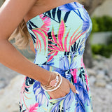 Bohemian Strapless Printed Maxi Dress
