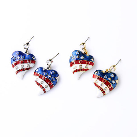 4th July American Flag Shiny Pave Crystal