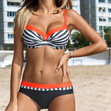 Large Size Striped Patchwork Push up Bikini Set