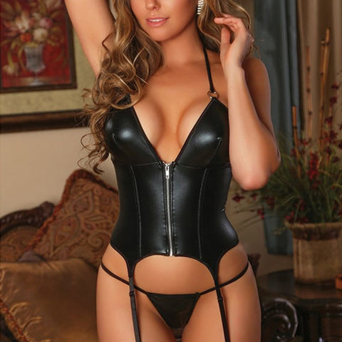 Vinyl Leather Halter Corset Bustier Black Wetlook
